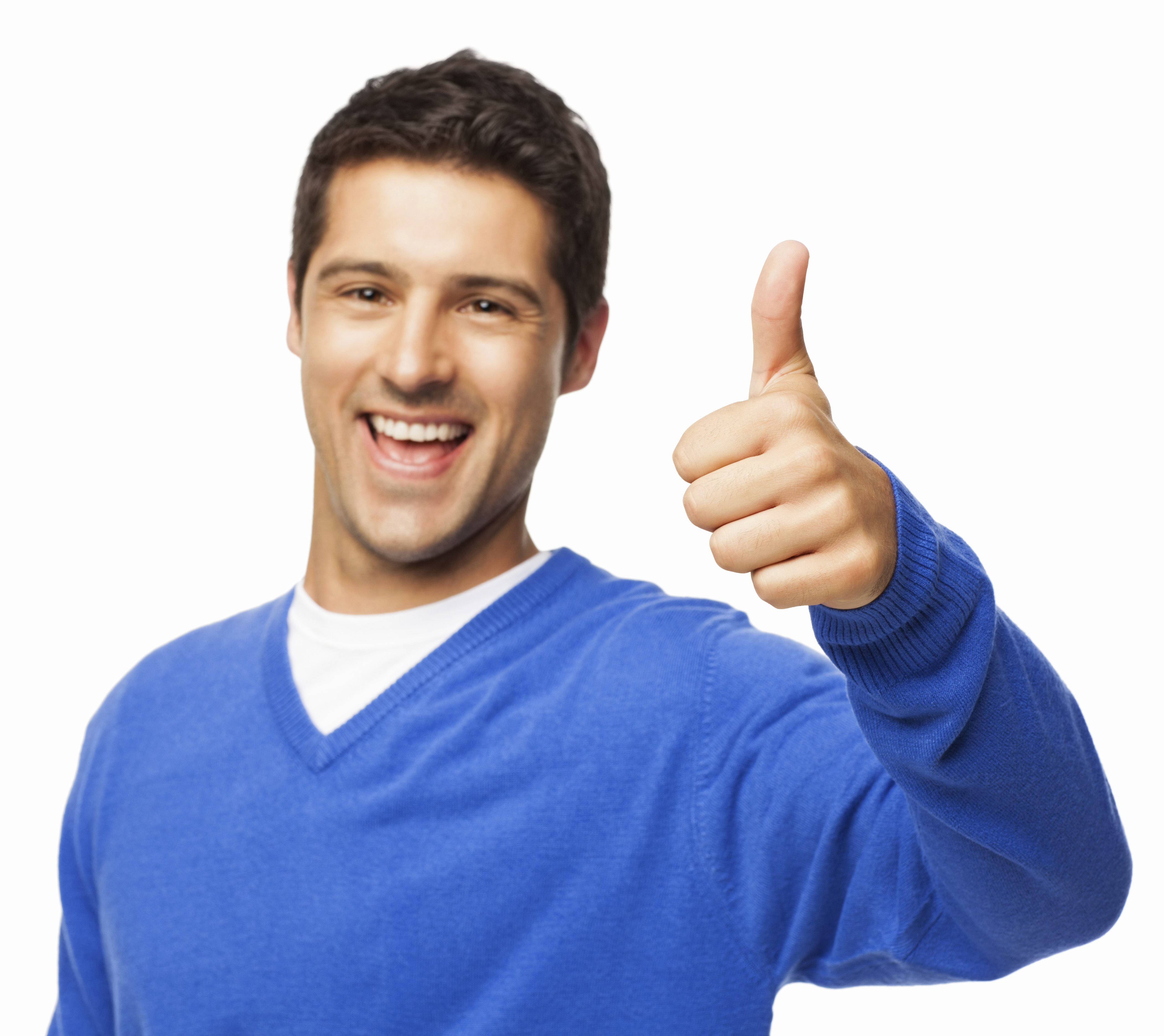 Handsome Young Man Gesturing Thumbs Up - Isolated
